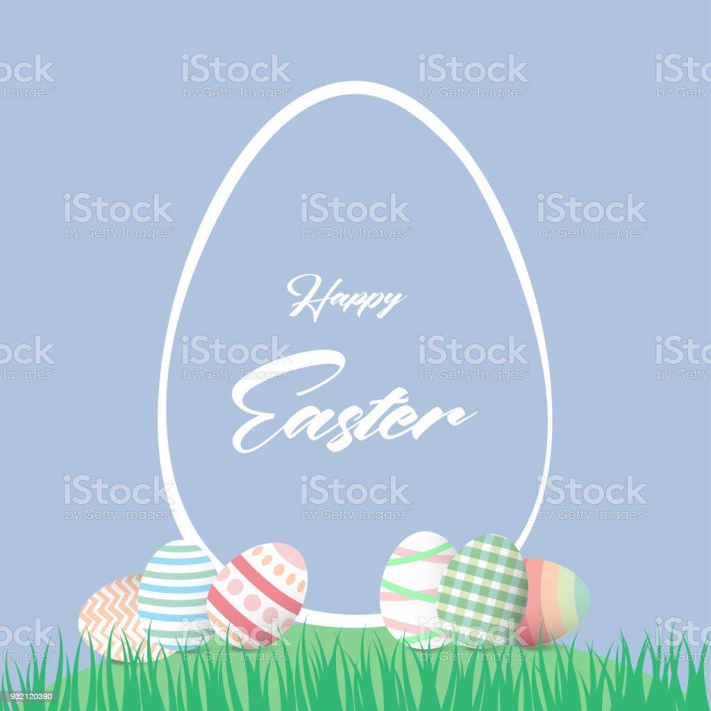 Ilustración de Feliz Pascua Fondo La Plantilla Con Coloridos Huevos ...