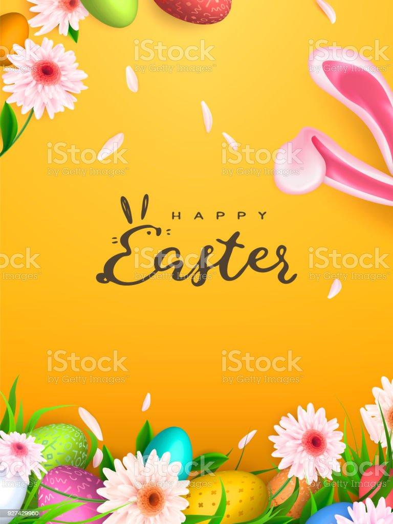 Heureux fond de Pâques, oeufs branchés. Conception des vacances de printemps. Illustration vectorielle. - Illustration vectorielle