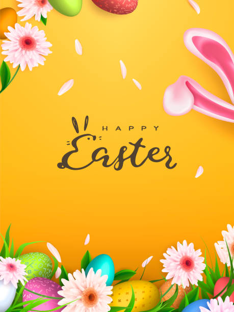Happy Easter background, trendy Eggs. Spring holiday design. Vector illustration. vector art illustration