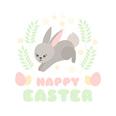 Happy Easter background vector. Cute illustration with jumping funny bunny for kids egg hunt party poster. Pastel spring design for banner, flyer, greeting card, invitation.