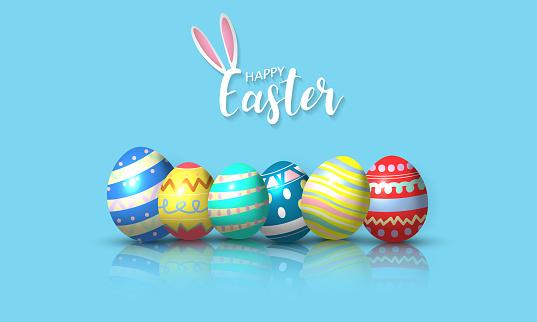 Happy Easter background. Vector illustration.