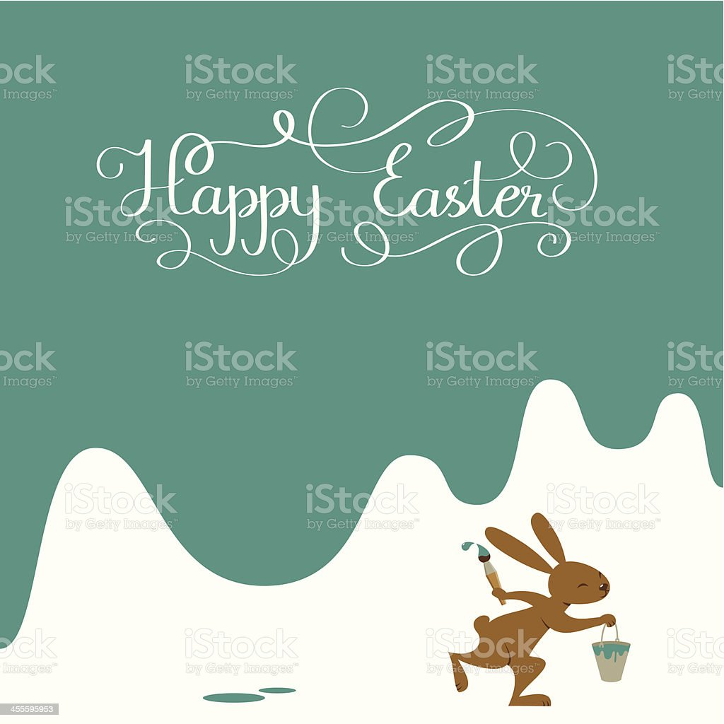 Happy Easter background with bunny and lettering royalty-free stock vector art