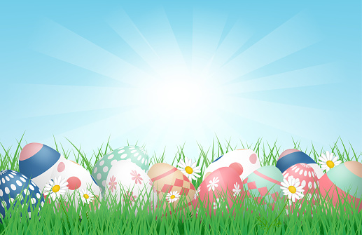 3D Happy Easter background with Colorful Easter Eggs on grass field with sunlight. Vector illustration. Banner, backdrop, spring, poster.