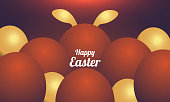 istock Happy Easter Background with Colorful Eggs. 1288989049
