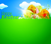 Happy Easter Background with Copy Space.Each element in a separate layers.Very easy to edit vector EPS10 file.It has transparency layers with blend effects.