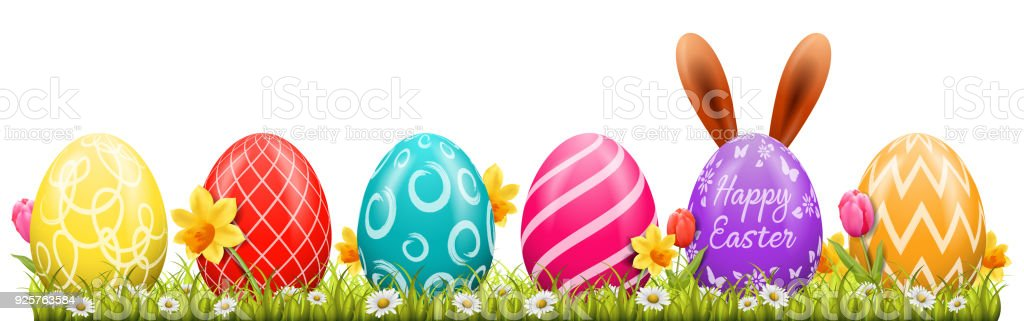 Happy Easter-Hintergrund mit Ostereier und Osterhase – Vektorgrafik