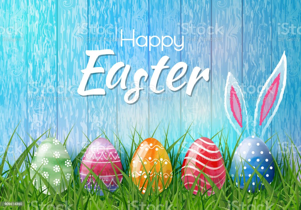 Happy Easter background with realistic Easter eggs. Easter card vector art illustration