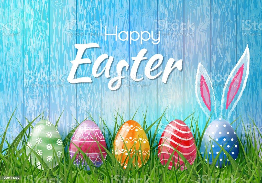 Heureux fond de Pâques avec des oeufs de Pâques réalistes. Carte de Pâques - Illustration vectorielle