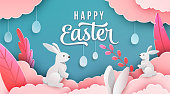 Happy easter banner background. Holiday greeting in paper cut 3d style with clouds, bunny, plant, egg, ears. Vector illustration. Place for your text.