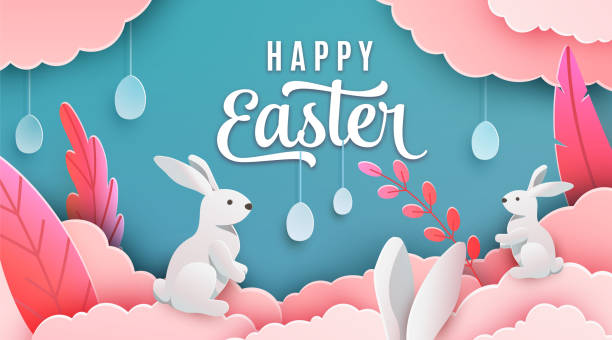 Happy easter banner background. Holiday greeting in paper cut 3d style with clouds, bunny, plant, egg, ears. Vector illustration. Place for your text Happy easter banner background. Holiday greeting in paper cut 3d style with clouds, bunny, plant, egg, ears. Vector illustration. Place for your text. easter stock illustrations
