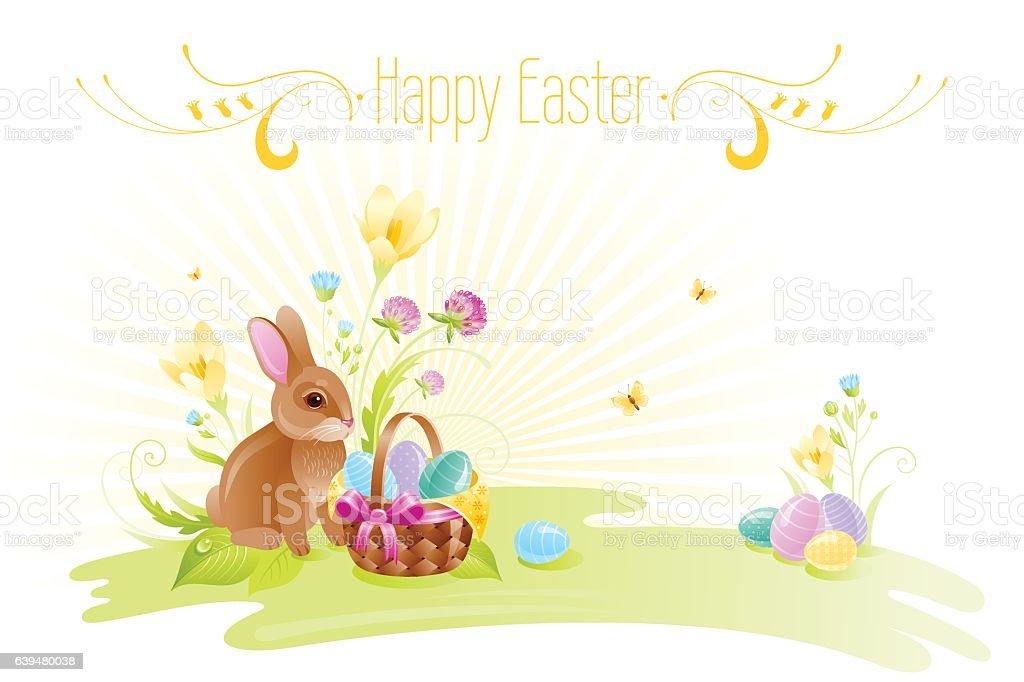 happy easter banner border bunny eggs spring flowers