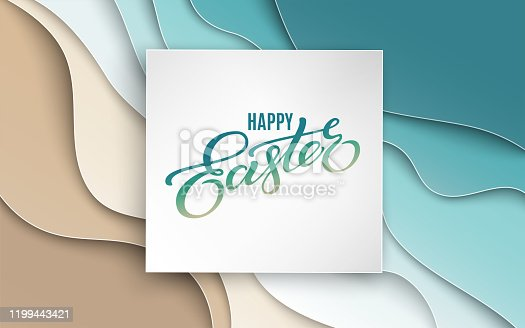 Happy Easter banner. Holiday concept design for greeting card, banner, poster, flyer, web. Happy Easter calligraphy lettering text, background with 3d paper cutout carving abstract blue shapes. Paper cut out art style, vector illustration