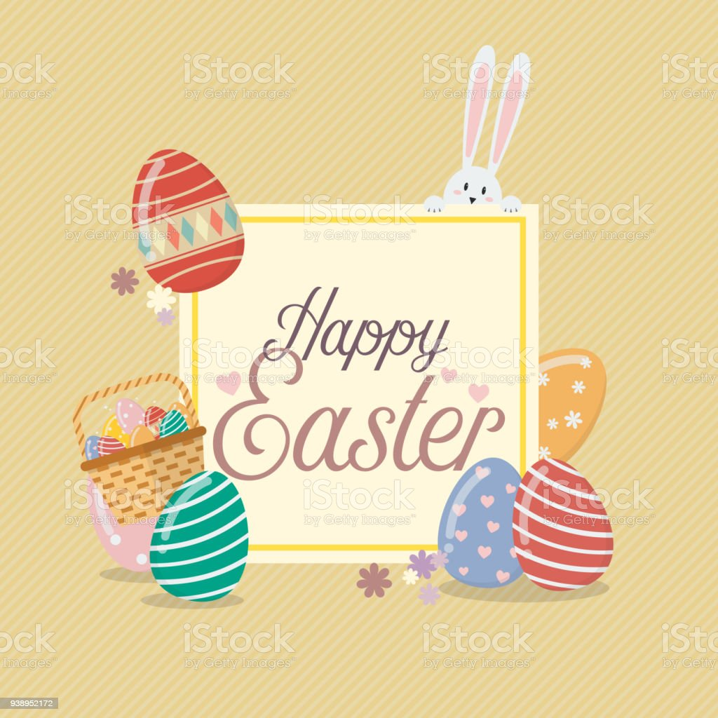 happy easter banner template with bunny rabbit and eggs stock vector