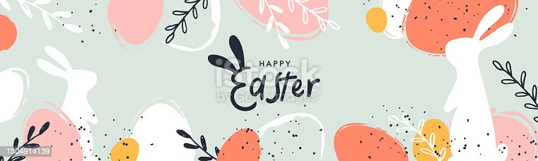 istock Happy Easter banner. Trendy Easter design with typography, hand painted strokes and dots, eggs and bunny in pastel colors. Modern minimal style. Horizontal poster or greeting card 1304914139