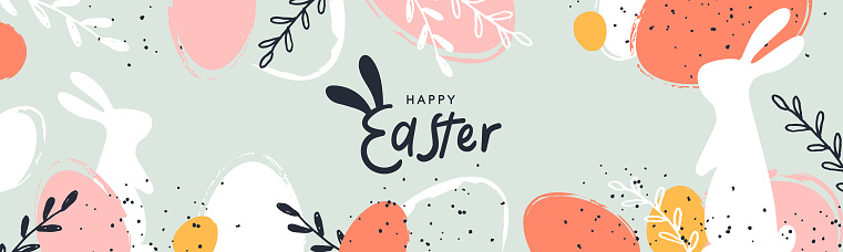Happy Easter banner. Trendy Easter design with typography, hand painted strokes and dots, eggs and bunny in pastel colors. Modern minimal style. Horizontal poster or greeting card