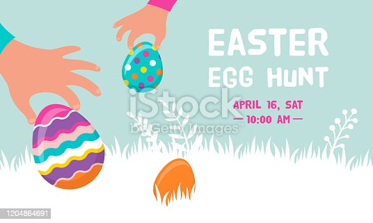Happy Easter banner with bunny, flowers and eggs. Egg hunt poster. Spring background, vector illustration in modern style