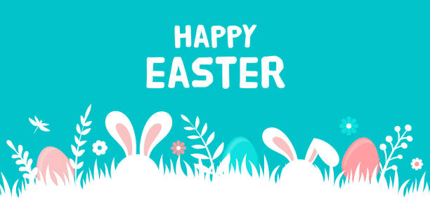 Happy Easter banner with bunny, flowers and eggs. Egg hunt poster. Spring background, vector illustration in modern style Happy Easter banner with bunny, flowers and eggs. Egg hunt poster. Spring background, vector illustration in modern style easter stock illustrations