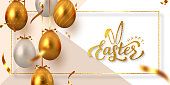 Happy Easter banner with hanging golden metal and white eggs, serpentine and hand written lettering text. Glitter frame. Vector realistic.