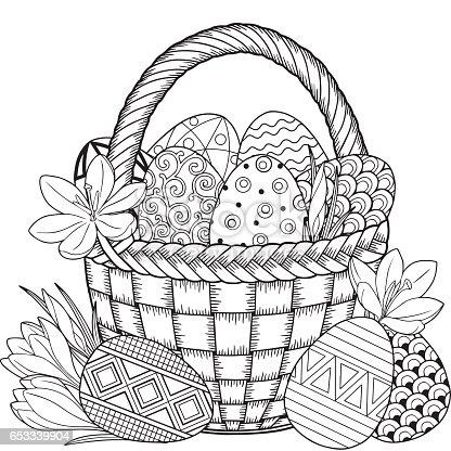 istock Zentangle blanco y negro decorativos huevo de pascua ...