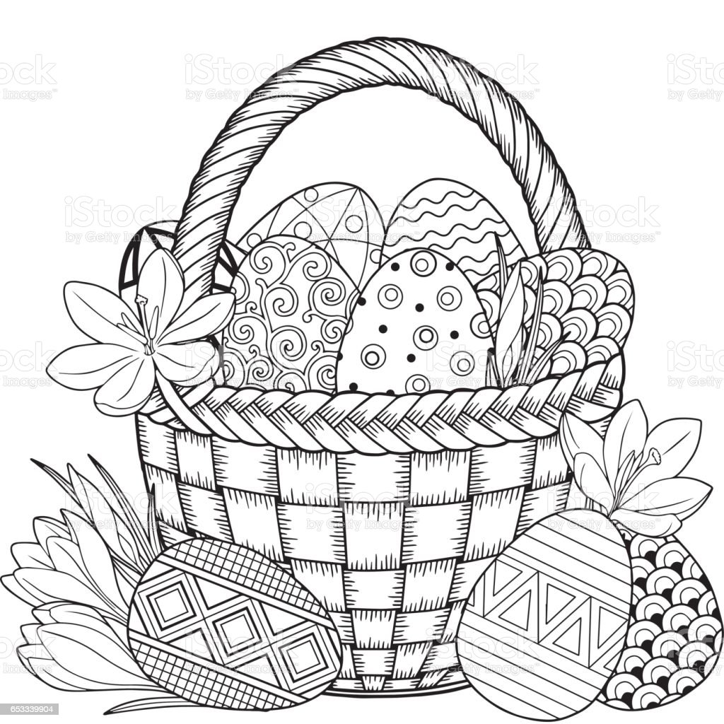 Happy Easter. Black and White Doodle Easter Eggs in the basket. vector art illustration
