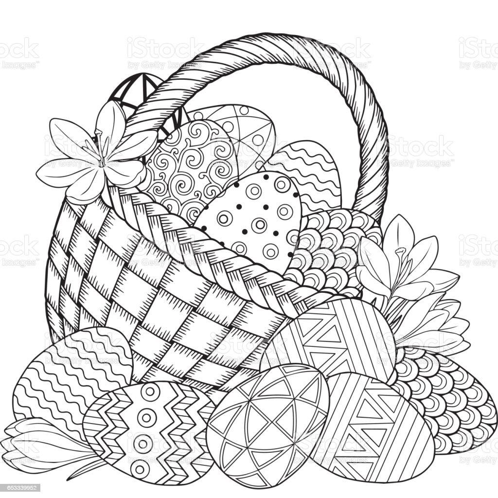 Happy Easter Black And White Doodle Eggs In The Basket Royalty Free