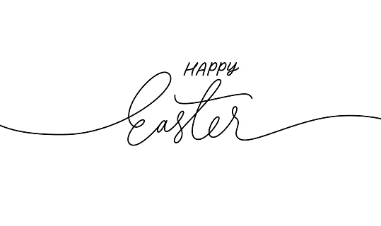 Happy Easter black linear lettering with swooshes.