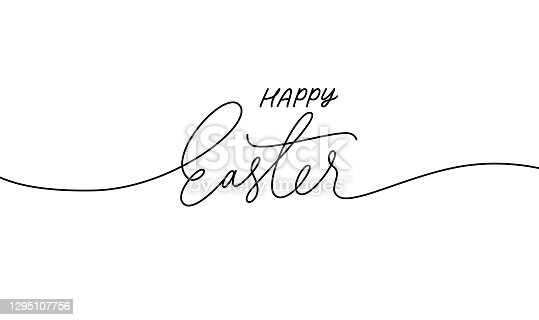istock Happy Easter black linear lettering with swooshes. 1295107756
