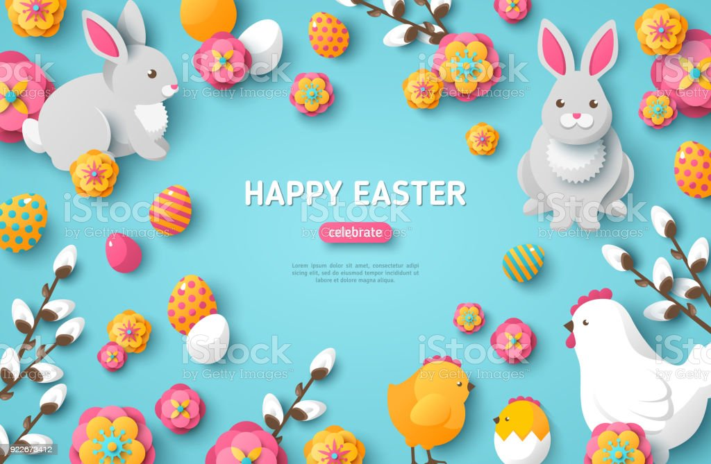Happy Easter Blue Background vector art illustration