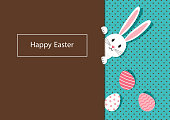 Happy Easter, bunnies and eggs greeting card. Rabbit on polka dot turquoise and chocolate background. Vector illustration