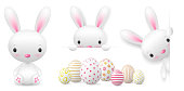 Happy easter bunny and easter eggs vector set isolated