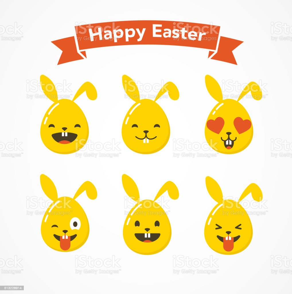 Happy Easter Bunny And Eggs Emoticons Emoji Greeting Card Royalty Free Stock Vector Art