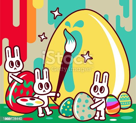 istock Happy Easter bunny artist painting big golden Easter Eggs at an art studio 1302728440