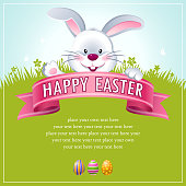 Easter bunny poster. EPS10.