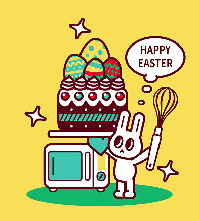 Happy Easter Bunny chef holding a wire whisk and using an oven mitt carrying an Easter cake with Easter Eggs on it, an oven behind