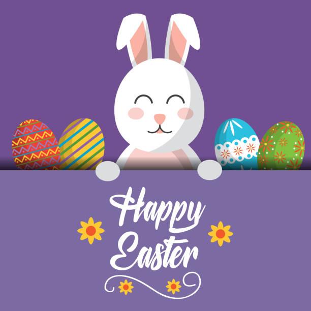 carte de voeux de joyeux Pâques lapin avec oeufs colorés - Illustration vectorielle