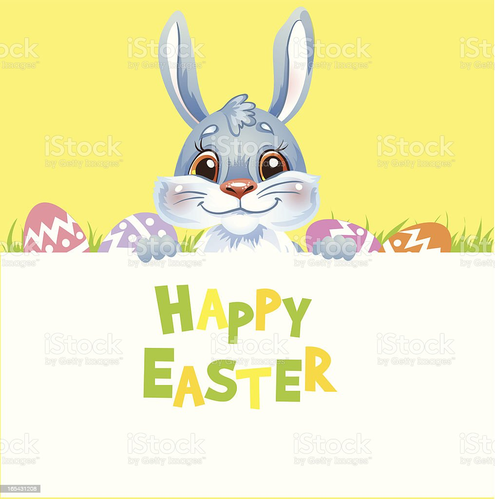 Happy Easter Bunny holding banner. royalty-free happy easter bunny holding banner stock vector art & more images of animal