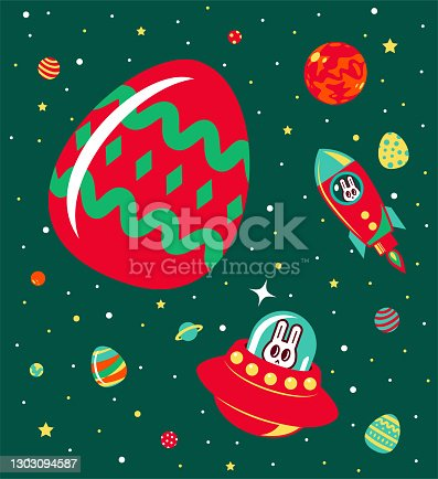 istock Happy Easter Bunny on the spaceship (rocket) and UFO in the outer space doing the exploration and collecting Easter Eggs 1303094587