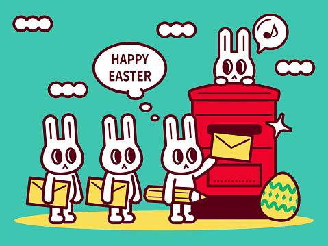 Happy Easter Bunny sending a card, putting a real paper greeting card in the mailbox