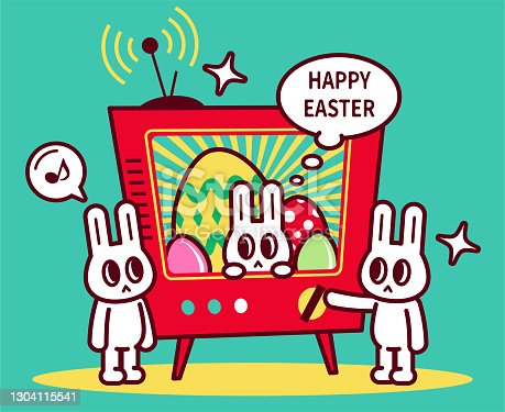 istock Happy Easter Bunny turning on the TV and watching Easter TV shows 1304115541