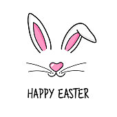 Cute easter bunny vector illustration, hand drawn face of bunny. Greeting card with Happy Easter writing. Ears and tiny muzzle with whiskers. Isolated on white background.