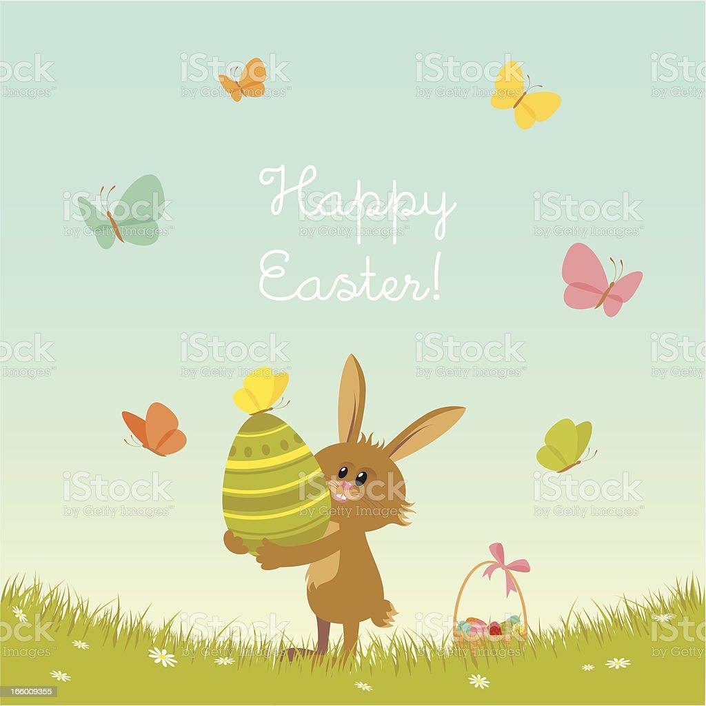 Happy Easter bunny vector art illustration