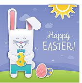Happy Easter bunny with easter eggs spring fresh fun backgroiund. EPS 10 file. Transparency effects used on highlight elements.