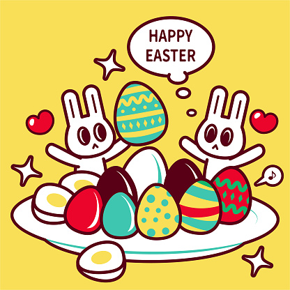 Happy Easter Bunny with a big plate of Easter Eggs