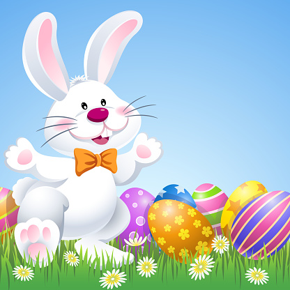 Happy Easter Bunny with Eggs in Nature