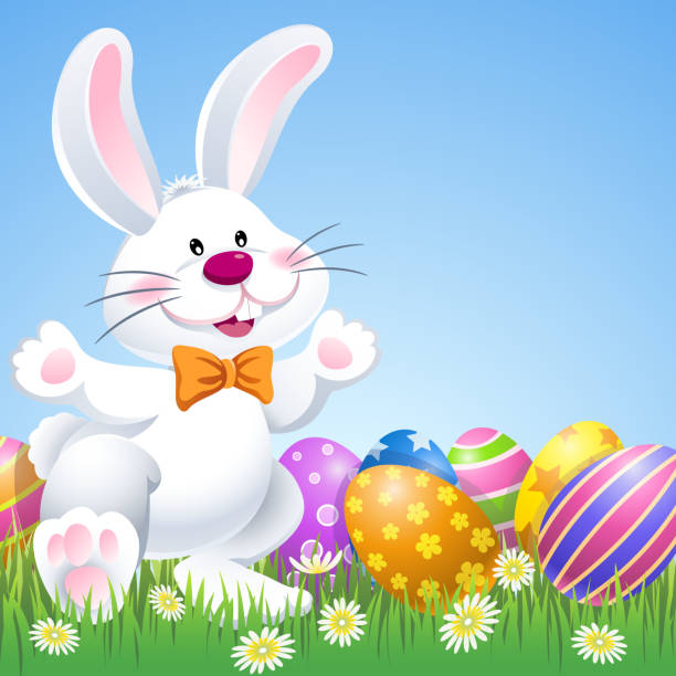 glücklich osterhase mit eier in der natur - hase stock-grafiken, -clipart, -cartoons und -symbole