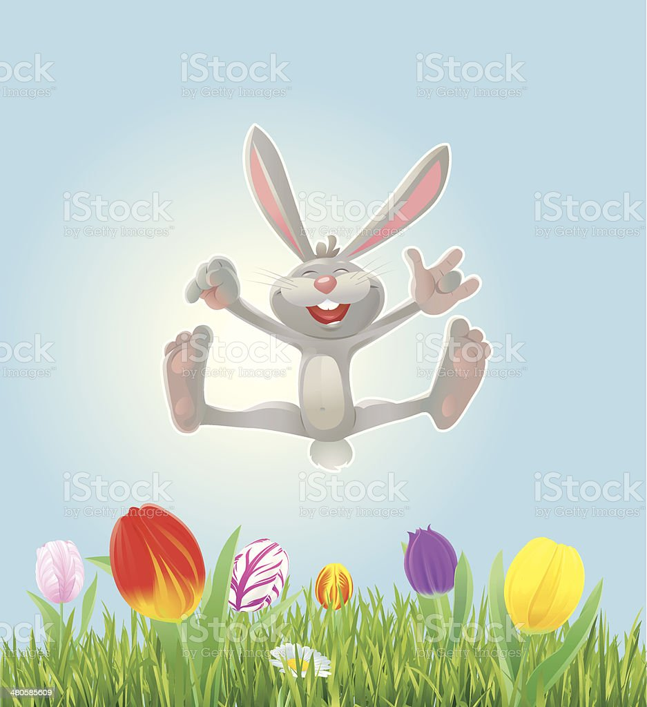 Happy Easter Bunny with Grass and Tulips vector art illustration
