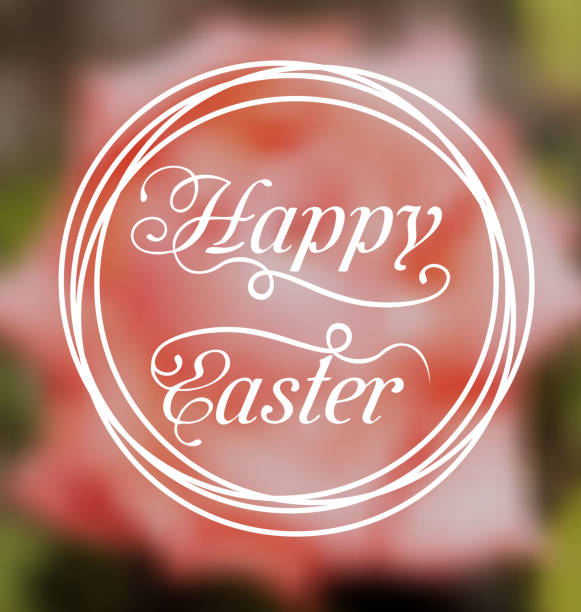 Happy Easter calligraphic headline, blurred background stock photo
