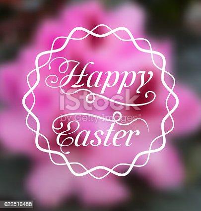 istock Happy Easter calligraphic headline, blurred background 622516488