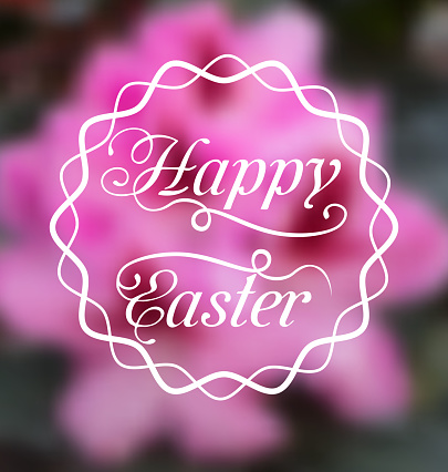istock Happy Easter calligraphic headline, blurred background 622516488