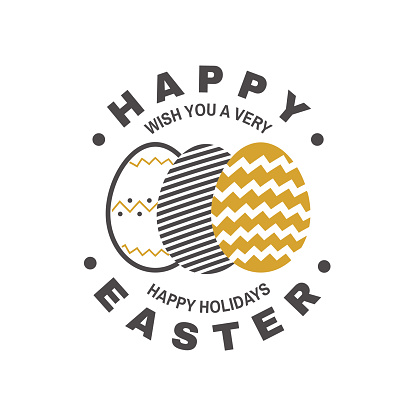 Happy Easter card, badge, logo, sign. Vector. Typography design with easter hand eggs. Modern minimal style. For poster, greeting card, overlay, sticker
